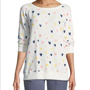 Joie sweater heart novelty print sz:Xxs white